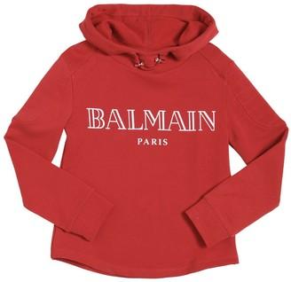 Balmain Logo Printed Hooded Cotton Sweatshirt