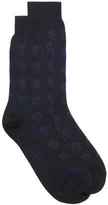 Alexander McQueen navy skull cotton short socks