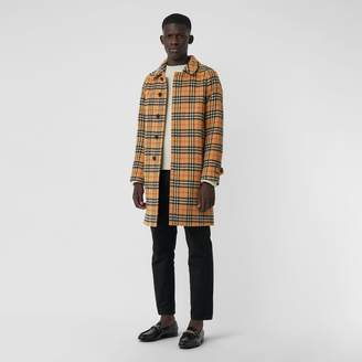Burberry Vintage Check Alpaca Wool Car Coat