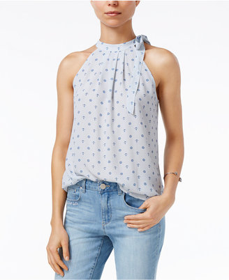 Maison Jules Gingham-Print Tie-Neck Top, Created for Macy's $49.50 thestylecure.com