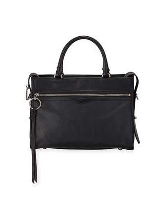 Rebecca Minkoff Bedford Zip Leather Satchel Bag, Black
