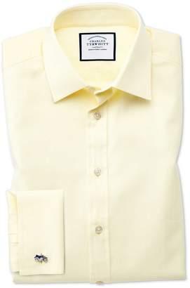 Charles Tyrwhitt Extra Slim Fit Fine Herringbone Yellow Cotton Dress Shirt French Cuff Size 14.5/33