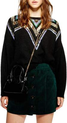 Topshop Sequin Yoke Fair Isle Sweater