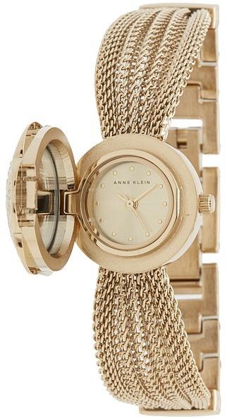 Anne KleinAnne Klein - AK-1046CHCV Swarovski Crystal Accented Gold-Tone Covered Dial Mesh Bracelet Watch Watches