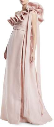 Valentino One-Shoulder Ruffle Light-Gazaar Full Evening Gown