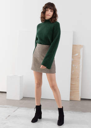 And other stories Houndstooth Wool Blend Mini Skirt