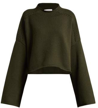 J.W.Anderson Wool And Cashmere Blend Cropped Sweater - Womens - Khaki