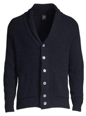 Eleventy Ribbed Shawl Collar Cardigan
