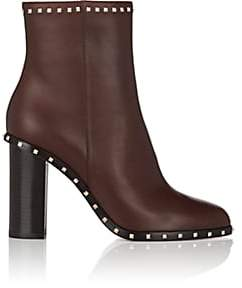 Valentino Women's Rockstud Leather Ankle Boots - Camel