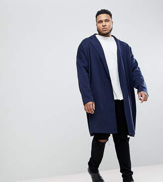 Asos DESIGN PLUS Longline Knitted Duster Jacket in Navy