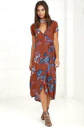 Billabong Wrap Me Up Rust Red Floral Print Wrap Dress $64.95 thestylecure.com