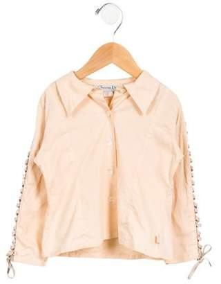 Christian Dior Girls' Embellished Button-Up Shirt