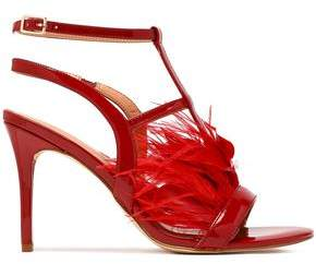 Halston Tasha Feather-Trimmed Patent-Leather Sandals