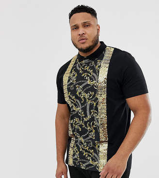 Asos Design DESIGN Plus relaxed fit polo with print and sequins