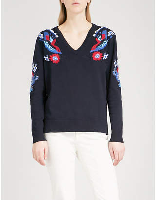 Claudie Pierlot Floral-embroidered knitted jumper