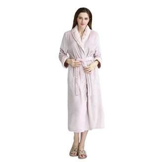 DoMii Women Long Thick Fleece Robe Soft Spa Plush Full Length Bathrobe  Sleepwear L f00b27fb3