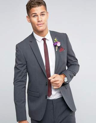 Asos Wedding Slim Blazer With Stretch In Charcoal