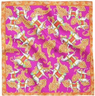 House of Gharats - Kalighat Horse Classic Silk Scarf Collection Pink & Orange