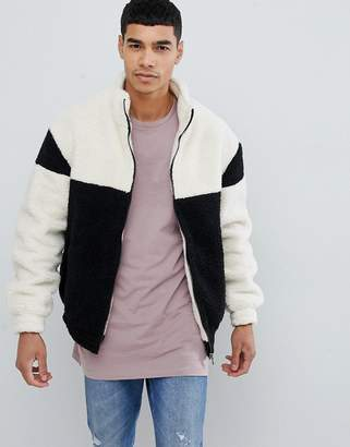 New Look color block jacket with funnel neck in black