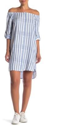 Velvet Heart Shaleene Striped Off-the-Shoulder Shirtdress