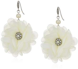 Carolee Icing On The Cake Fabric Flower Pierced Drop Earrings