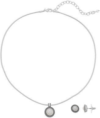 Napier Textured Halo Round Pendant Necklace & Stud Earring Set