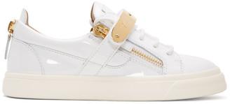 Giuseppe Zanotti White Patent London Sneakers $765 thestylecure.com