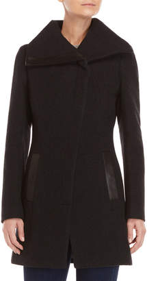 Soia & Kyo Wool Leather Trim Coat