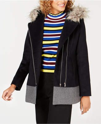 Coffeeshop Junior's Faux-Fur-Trim Hooded Asymmetrical Coat