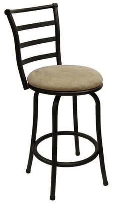 "Mainstays 24"" Ladder Back Swivel Barstool with Microfiber Cushion, Tan"