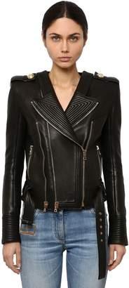 Balmain Fitted Leather Biker Jacket
