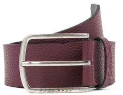 BOSS Belt in grained leather with rounded buckle