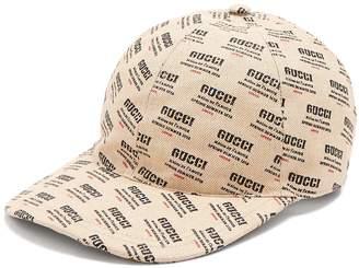 Gucci Logo-print woven linen-blend cap