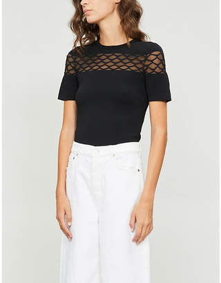 Maje Marinel semi-sheer knitted top