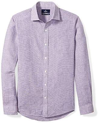 Buttoned Down Men's Tailored Fit Spread-Collar Casual Linen Cotton Shirt
