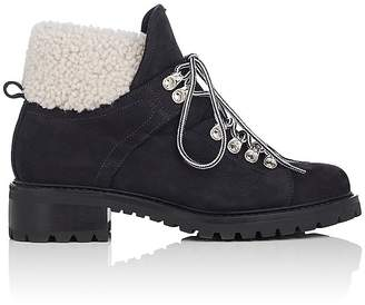 Barneys New York Women's Suede & Shearling Lace-Up Ankle Boots $525 thestylecure.com