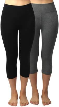 4HOW Women's Cotton Spandex Capri Yoga Pants Black Size S