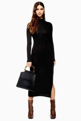 Topshop Tall High Neck Rib Midi Bodycon Dress