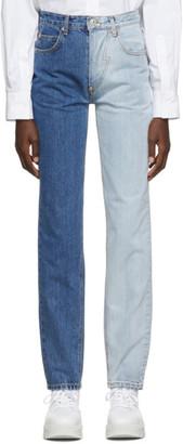 Pushbutton Blue Coloration-Leg Jeans