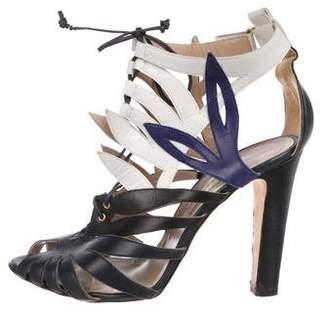 Oscar de la Renta Leather High-Heel Sandals