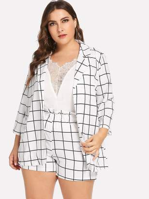 Shein Plus Open Front Plaid Blazer With Shorts