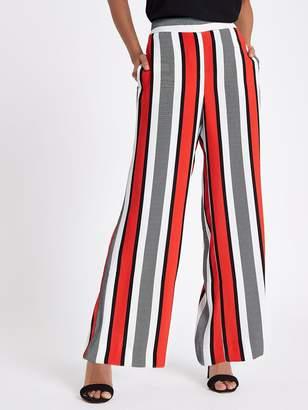 River Island RI Petite Wide Leg Trouser - Red Stripe