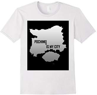 Mens POCHINKI IS MY CITY Map Shirt Large