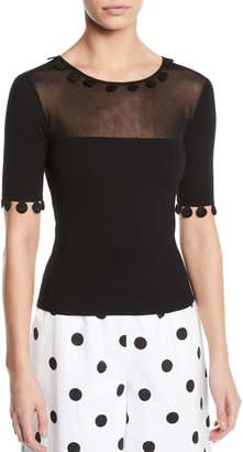 Oscar de la Renta Sheer-Yoke Dot-Trim Short-Sleeve Knit Top