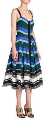 Fendi Bustier Zip-Up Cotton Taffeta Dress