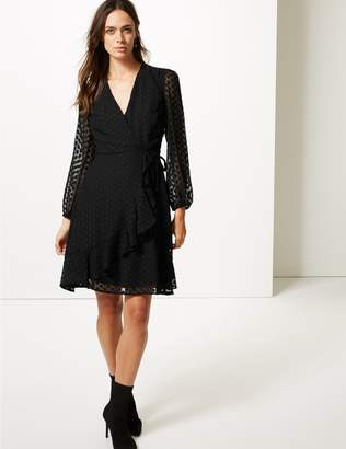 Marks and Spencer Spotted Dobby Long Sleeve Wrap Dress