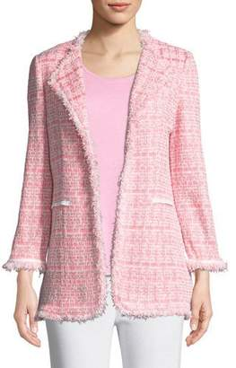 Misook Tweed Topper Jacket w/ Fringe Trim, Petite