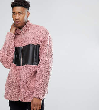 Asos TALL Oversized Borg Track Jacket With Woven Panel