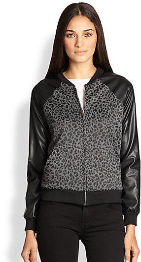 A Fine Line Brooke Leopard Print Bomber Jacket