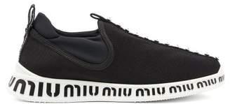 Miu Miu - Crystal And Pearl Embellished Sock Trainers - Womens - Black